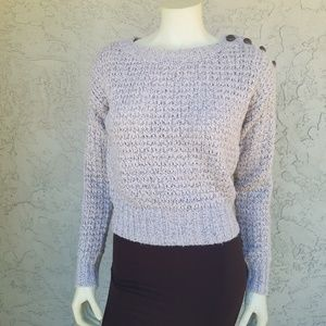 Trouve Cropped Marled Knit Button Shoulder Sweater